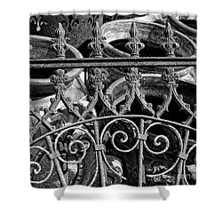 Wrought Iron Gate And Pots Black And White Shower Curtain by Kathleen K Parker
