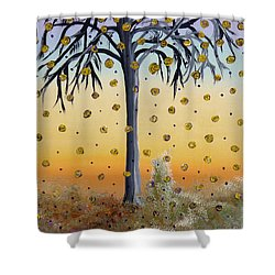 Yellow-blossomed Wishing Tree Shower Curtain by Alys Caviness-Gober