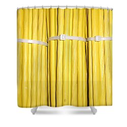 Yellow Network Cables Shower Curtain by Matthias Hauser