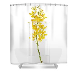 Yellow Orchid In Vase Shower Curtain by Atiketta Sangasaeng
