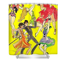Yellow Song Sheet Shower Curtain by Mel Thompson