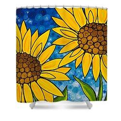Yellow Sunflowers Shower Curtain by Sharon Cummings