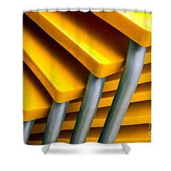 Yellow Tables Shower Curtain by Carlos Caetano
