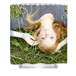 Young Girl On Grass Shower Curtain by Kicka Witte