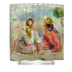 Young Girls On The Beach Shower Curtain by Pierre Auguste Renoir