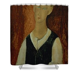 Young Man With A Black Waistcoat Shower Curtain by Amedeo Modigliani