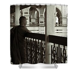 Young Monks In Mandalay Hill Shower Curtain by RicardMN Photography