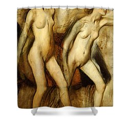 Young Spartan Girls Provoking The Boys Shower Curtain by Edgar Degas