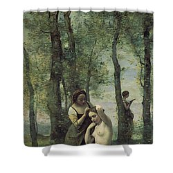 Young Woman At Her Toilet Shower Curtain by Jean Baptiste Camille Corot