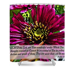 Your Wonderful Works Shower Curtain by Debbie Portwood