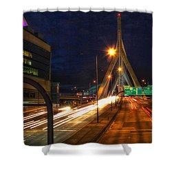 Zakim Bridge At Night Shower Curtain by Joann Vitali