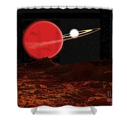 Zeta Piscium Is A Binary Star System Shower Curtain by Ron Miller