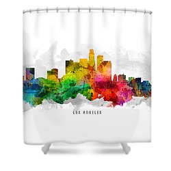 Los Angeles California Cityscape 12 Shower Curtain by Aged Pixel