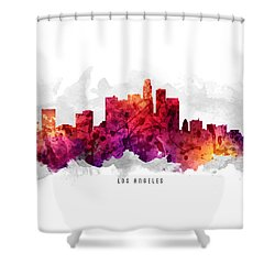 Los Angeles California Cityscape 14 Shower Curtain by Aged Pixel