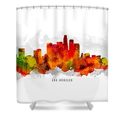 Los Angeles California Cityscape 15 Shower Curtain by Aged Pixel