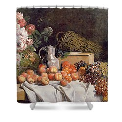 Still Life With Flowers And Fruit On A Table Shower Curtain by Alfred Petit