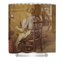 The Spinning Wheel  Shower Curtain by Frederick William Jackson