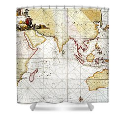 Indian Ocean: Map, 1705 Shower Curtain by Granger