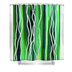 Abstract Lines On Green Shower Curtain by Irina Sztukowski