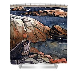 Acadia Rocks Shower Curtain by Donald Maier