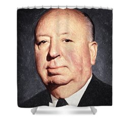 Alfred Hitchcock Shower Curtain by Taylan Apukovska