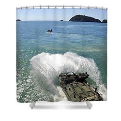 Amphibious Assault Vehicles Exit Shower Curtain by Stocktrek Images