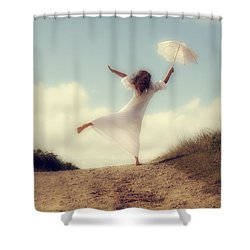 Angel With Parasol Shower Curtain by Joana Kruse