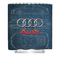 Audi 3 D Badge Over 2016 Audi R 8 Blueprint Shower Curtain by Serge Averbukh