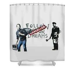 Banksy - The Tribute - Follow Your Dreams - Steve Jobs Shower Curtain by Serge Averbukh