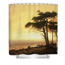 California Coast Shower Curtain by Albert Bierstadt