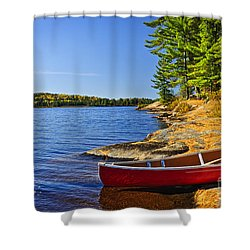 Canoe On Shore Shower Curtain by Elena Elisseeva