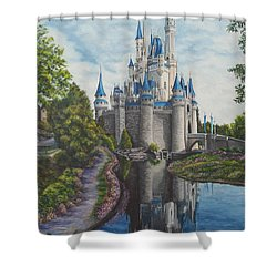 Cinderella Castle  Shower Curtain by Charlotte Blanchard