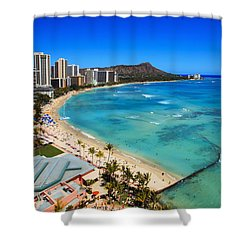 Classic Waikiki Shower Curtain by Tomas del Amo - Printscapes