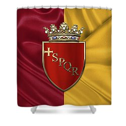 Coat Of Arms Of Rome Over Flag Of Rome Shower Curtain by Serge Averbukh