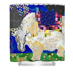 Stay Curious Cow Collage  Shower Curtain by Claudia Schoen