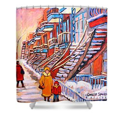 Debullion Street Winter Walk Shower Curtain by Carole Spandau