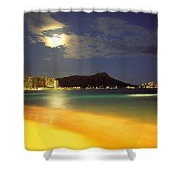 Diamond Head And Waikiki Shower Curtain by William Waterfall - Printscapes