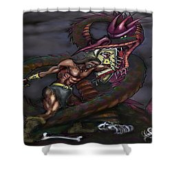 Dragonslayer Shower Curtain by Kevin Middleton