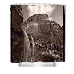 Emerald Pools Falls Zion National Park Shower Curtain by Steve Gadomski