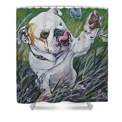 English Bulldog Shower Curtain by Lee Ann Shepard