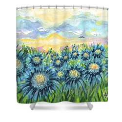 Field Of Blue Flowers Shower Curtain by Holly Carmichael