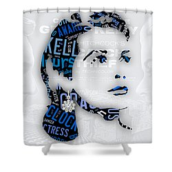 Grace Kelly Movies In Words Shower Curtain by Marvin Blaine