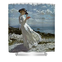 Grace Reading At Howth Bay Shower Curtain by Sir William Orpen