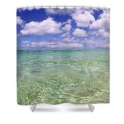 Green Water Seascape Shower Curtain by Vince Cavataio