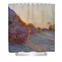 Haystacks Shower Curtain by Claude Monet