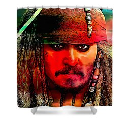 Johnny Depp Painting Shower Curtain by Marvin Blaine