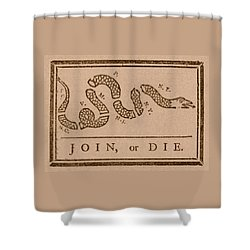 Join Or Die Shower Curtain by War Is Hell Store