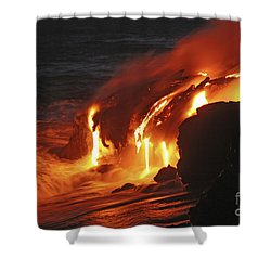Kilauea Lava Flow Sea Entry, Big Shower Curtain by Martin Rietze