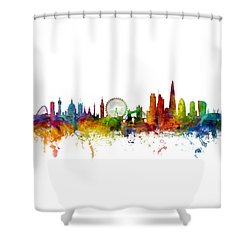 London England Skyline Panoramic Shower Curtain by Michael Tompsett