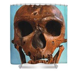 Neanderthal Skull Shower Curtain by Granger